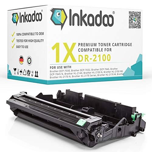 Inkadoo Bildtrommel passend für Brother Drucker MFC-7320, DCP-7030, HL-2140 kompatibel zu Brother Bildtrommel DR2100 DR-2100 - Premium Trommel Alternativ - Farblos - 12000 Seiten
