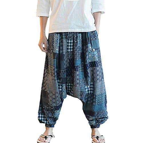 HZCX FASHION Men's Vintage Cotton Blends Linen Drop Crotch Jogging Harem Pants
