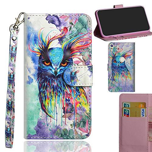 Ooboom Alcatel Shine lite 5080X Hülle 3D Flip PU Leder Schutzhülle Handy Tasche Case Cover Ständer mit Trageschlaufe Magnetverschluss für Alcatel Shine lite 5080X - Colorful Owl