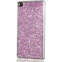 Huawei P8 Cover, KSHOP Conchiglia per Samsung Huawei P8 Custodia TPU Silicone Bling Bling Glitter (Colonne Lisce)