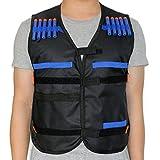 HONGCI Kinder Schwarz Elite Taktische Weste Jacken Kit für Nerf Gun N-strike Elite Series Sniper (kommt mit 20er 7.2cm darts pfeile)
