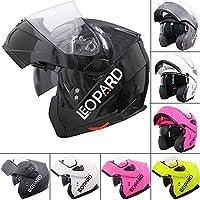 Leopard LEO-838 Safari Modular DOUBLE SUN VISOR Flip up Front Motorbike Motorcycle Helmet
