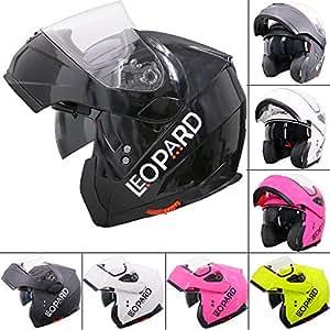 Leopard LEO-838 Safari Modular DOUBLE SUN VISOR Flip up Front Motorbike Motorcycle Helmet #2 Black XS (53-54cm)