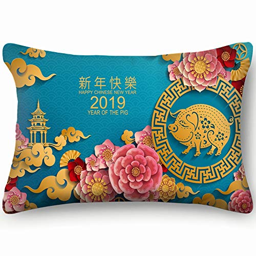 dfgi Happy Chinese New Year 2019 Zodiac Year Holidays Year Holidays Skin Cool Super Soft and Luxury Pillow Cases Covers Sofa Bed Throw Pillow Cover with Envelope Closure 20 * 30 inch