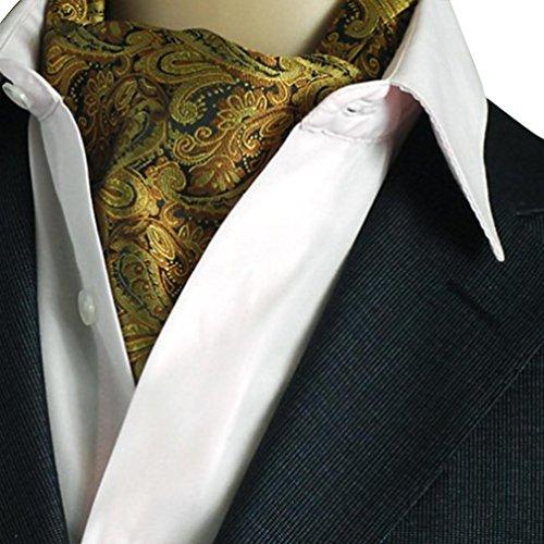 NiSeng Herren Jacquard Ascot Elegent Necktie Ascotkrawatte Paisley Krawatte Cravat Krawatten Accessoires für Festliche Veranstaltungen Gold#1