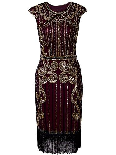 Flapper Kostüm Gold Fringe & Pailletten - Vijiv Damen 1920 Vintage inspirierte Pailletten verziert Fringe Lange Gatsby Flapper-Kleid m / uk10-12 / eu38-40 rotes gold