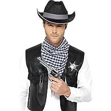 Smiffy's - Western kit de accesorios con falsa insignia, sombrero y bufanda (45508ML)