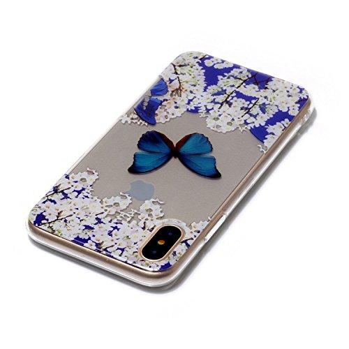 Cover Apple iPhone X, Voguecase Custodia Silicone Morbido Flessibile TPU Transparent Custodia Case Cover Protettivo Skin Caso (cuori rossi 05) Con Stilo Penna Piccola orchidea 03