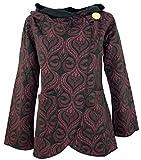 Guru-Shop Cape Boho Wickeljacke, Damen, Schwarz/bordeaurot, Baumwolle, Size:XL (42), Boho Jacken, Westen Alternative Bekleidung
