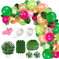 FEPITO 124Pcs Tropical Balloons Garland Kit Pink Green Balloon Arch Garland with Tropical Palm Leaves, Balloon Tape Strip, Dot Glue and Tying Tool for Tropical Party Decor, Birthday Party Supplies