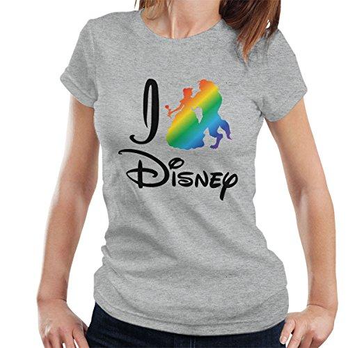 I Heart Disney Beauty And The Beast Rainbow Women's T-Shirt Heather Grey
