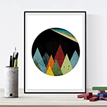 """Lámina para enmarcar """"MONTAÑAS ESPACIO"""" estilo geométrico. Nacnic. Regalos creativos de la naturaleza. Laminas para enmarcar o regalar. Papel 250 gramos alta calidad"""