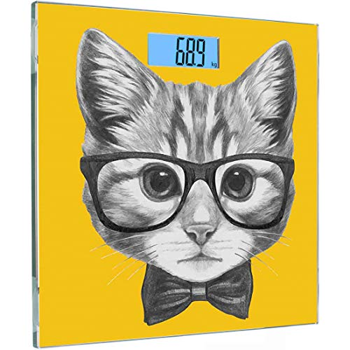 Ultra Slim Hochpräzise Sensoren Digitale Körperwaage Tierische Personenwaage aus gehärtetem Glas, skizzenhaftes handgezeichnetes Design Baby-Hipster-Katze Süßes Kätzchen mit Brillen-Image-Print, Graue