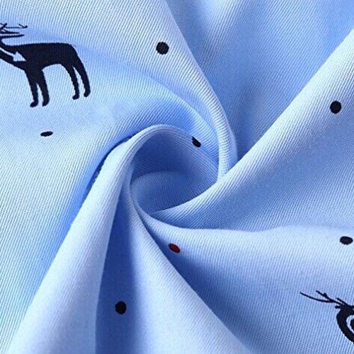 Honghu La Stampa Degli Animali Sottile Manica Lunga Vestito Camicia Uomo Azzurro