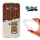 Becool® Fun - Funda Gel Flexible para Samsung Galaxy Core Prime .Carcasa TPU fabricada con la mejor Silicona, protege y se adapta a la perfección a tu Smartphone y con nuestro diseño exclusivo Tableta de chocolate