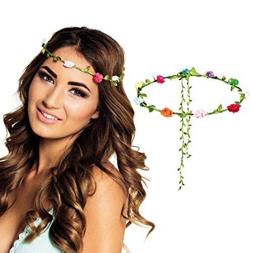 Blumen Haarreif Haarband mit Blüten bunt Blumenhaarband Hippie Haarschmuck Blumenkind
