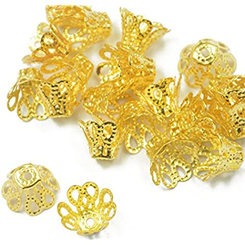 50pcs Placcato In Oro Metallo Tappi Corona Di Perline 12x7mm