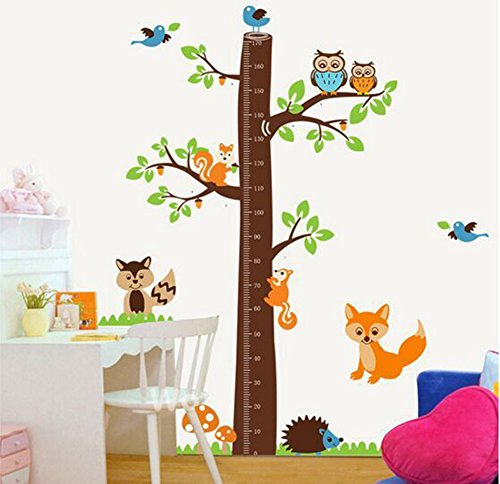 wonzom-Home-Decor-amovible-sticker-mural-stickers-enfants-Toise-Mesure-Animal-Arbre