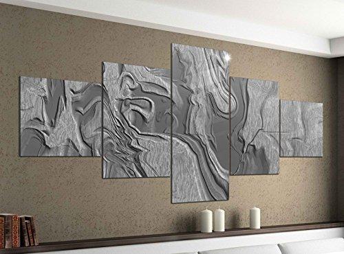 Leinwandbild 5 tlg. 200cmx100cm 3D Effekt abstrakte Kunst Malerei grau Stein Geo Figuren schwarz weiß Bilder Druck auf Leinwand Bild Kunstdruck mehrteilig Holz 9YA1524, 5Tlg 200x100cm:5Tlg 200x100cm