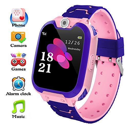 Reloj Inteligente para Niños La Musica y 7 Juegos, Smart Watch Phone, 2 Vías Llamada Despertador de Cámara Reloj Niño y Niña Regalo (Rosa)