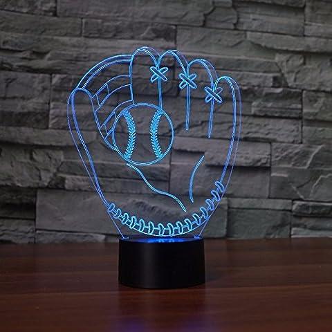 3D baseball und handschuhe Illusions Lampen, Tolle 7 Farbwechsel Acryl berühren Tabelle Schreibtisch-Nachtlicht mit USB-Kabel für Kinder Schlafzimmer Geburtstagsgeschenke Geschenk