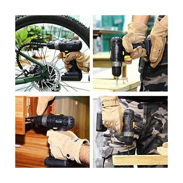 Trapano-Avvitatore-Batteria12V-TECCPO-Professional-Trapano-a-Batteria-27Nm-2-Batterie-20-Ah-27-Accessori-20-Coppie-1-Modalita-da-Forare2-Velocita