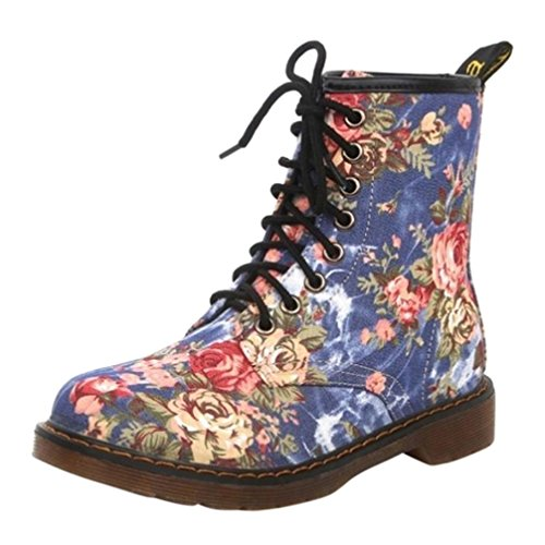 Siswong Lace Up Zapatos Clásico Retro Martin Botas Mujer Estampada Flores Planas Invierno Moda (EU:39, Azul)