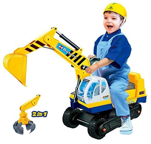Sitzbagger mit zwei Schaufeln in gelb + Helm (Kind-wohnung Großes)