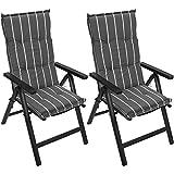 Multistore 2002 2 Stück Polsterauflage für Hochlehner, 120x50cm, 5cm Dick - Gartenstuhlauflage Stuhlauflage Sitzauflage Sitzpolsterauflage