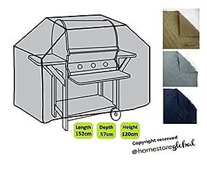 HomeStore Global grand Housse de protection pour Barbecue à gaz 152 (l) x 57 (p) x 112/120(h)cm - Épais et de haute qualité durable 600D Polyester toile avec des coutures doubles pour plus de solidité, très résistante et anti-humidité - Gris