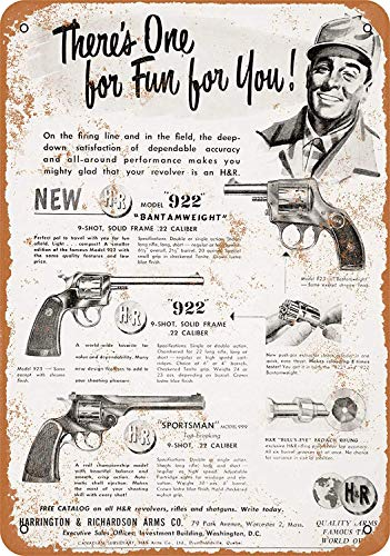 Yilooom 1951 Harrington & Richardson Revolvers - Vintage Metal Sign Novelty Wall Plaque Wall Art Decor Accessories Gifts 6 X 9 Inches -