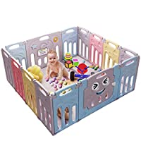 Baby Playpen Foldable 14 Panel Activity Center Safety Playard with Lock Door,Kid