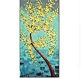 Waofe Ölgemälde Rahmen Abstrakt Gelb Blumen Diy Malen Nach Zahlen Acrylfarbe Auf Leinwand Wandkunst Bild Für Wohnzimmer 60X120