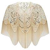 ArtiDeco 1920s Retro Schal Damen Stola Umschlagtücher für Abendkleid Hochzeit Party Braut Schal Gatsby Kostüm Accessoires (Beige Stil 2)