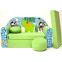 Z16+ Kindersofa Ausklappbar Schlafsofa Couch Sofa Minicouch 3 in 1 Baby Set + Kindersessel und Sitzkissen + Matratze