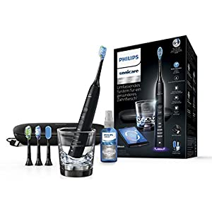 Philips Sonicare DiamondClean Smart Elektrische Zahnbürste mit Schalltechnologie HX9924/43, Ladeglas, USB-Etui