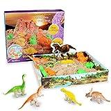 Weeygo Magic Sand Sabbia Modellabile - Sabbia Magica da Gioco 500g, Dinosauro Playset Artistico per Bambini - Kit Completo di Gioco Stampo con Dinosauri