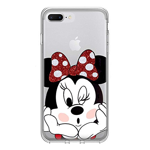 IP7Plus TPU Softcae Weiß Protective Schutzhülle Handycover Etui Bumper Staubdicht Telefon-Kasten Case Shell Abdeckung Bumper Back Cover Fashion glitter Disney Minnie Mouse Fluo Fluoreszierend, iPhone  Minnie