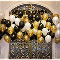 Party Propz Pack of 50 Black,Golden and Silver Latex Balloon for Balloons for Decoration