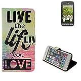 Pour Smartphone doro 8031 Case 360° Cover 'live the life you love' Fonction Stand Wallet BookStyle Housse Protection Sac Étui Couvervle pour doro 8031 meilleur prix, la meilleure performance - K-S-Trade(TM)