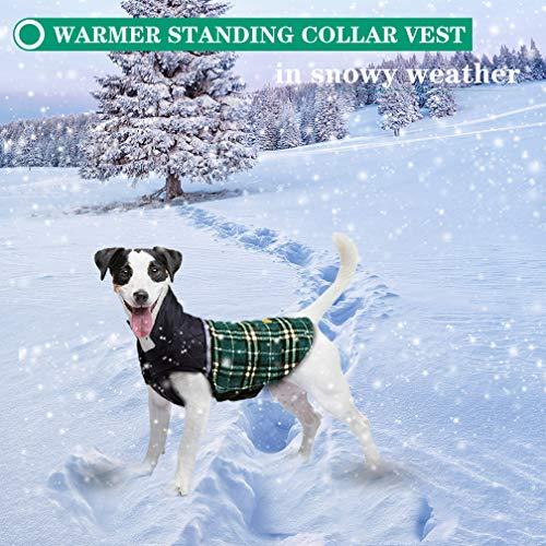 FairyMe Hundejacke für den Winter, Winddicht, wasserdicht, wendbar, für kalte Wetter, britischer Stil, kariert, warme Hundeweste für Kleine mittelgroße und große Hunde, M, grün -
