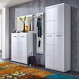 Garderoben Set 4tlg ANDANA131 Hochglanz weiß