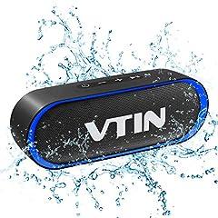 Idea Regalo - VTIN R4 Cassa Bluetooth 10W Altoparlante Bluetooth 24 Ore Playtime,Bluetooth 5.0 Speaker Portatile Connessione Stabile,Batteria Forte,Impermeabile IPX5,Vivavoce,Supporto TF Carda e 3.5mm Audio