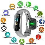 TEEPAO Fitness-Tracker/Smart-Armband, HD Farbdisplay, IP68, wasserdicht, M3 Plus, Aktivitätstracker mit Blutdruck-Herzfrequenz-Monitor, Schrittzähler für Android/iOS grau