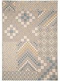 benuta In- & Outdoor Teppich Geometrie Blau 160x230 cm | Pflegeleichter Teppich geeignet für Innen- und Außenbreich, Balkon und Terrasse