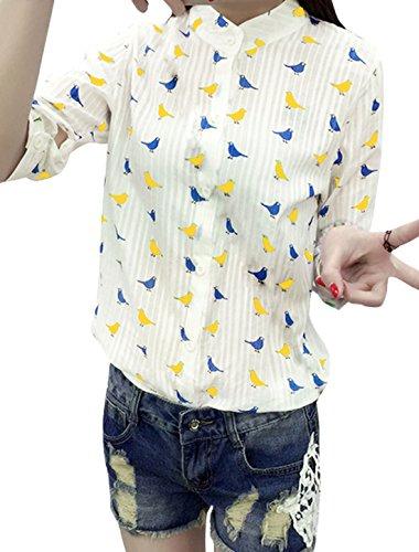 sourcingmap Damen 3/4 ärmel Streifendesign Vögel Bluse Gelb