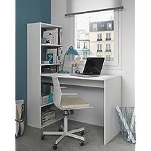 Mesa de ordenador PC o escritorio con estanteria reversible en blanco alpes, 144x120x52cm
