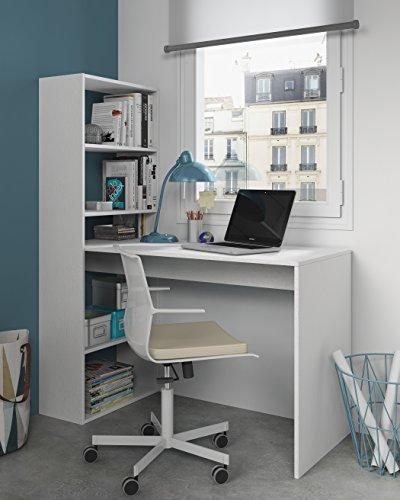 Mesa de ordenador PC o escritorio con estanteria reversible en blanco artik, 144x120x53cm