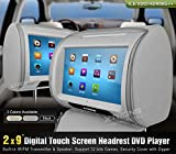 "XTRONS 2X 9"" Car Headrest DVD Player Twin HD Touch Screen 32-bit games USB SD FM&IR Transmitter&IR Headphones(Color optional) (Grey)"
