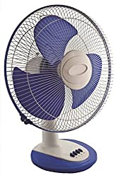 New Royal Dx High Speed Table Fan 3 Blade Table Fan (White, Blue)